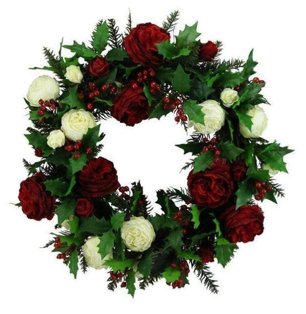 Red & White Rose Holly Wreath