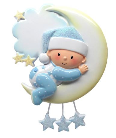 Baby's First Ornament Boy on Moon