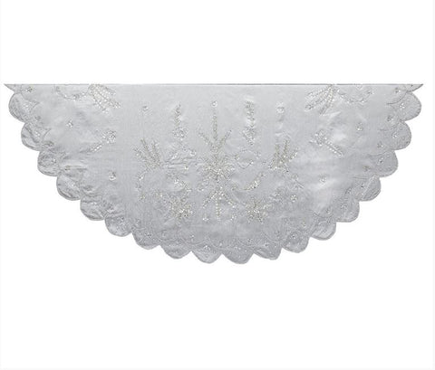 "48"" Silver Tree Skirt with Sequin and Beads"