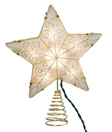 5 Point Star Tree Topper Lit GOLD