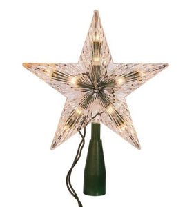 5 Point Clear Star Tree Topper Lit