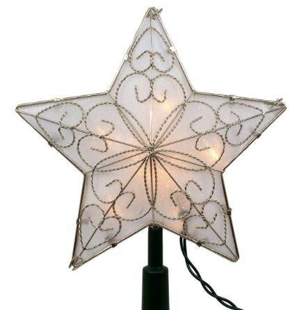 5 Point Star Tree Topper Lit SILVER