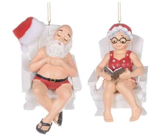 Assorted Sunbathing Santa & Mrs. Claus, INDIVIDUALLY SOLD