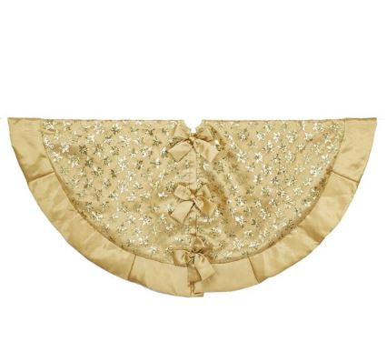 "48"" Gold Satin Tree Skirt with Glitter Snowflakes"