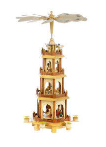 "20"",  4 Tier Natural Wooden Pyramid"