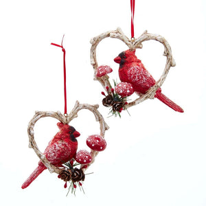 2 Assorted, Cardinal Heart Wreath, INDIVIDUALLY SOLD