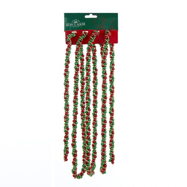 9' Red, Green & Gold Twisted Garland
