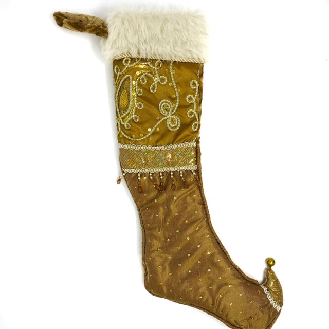 Bronze with Faux Fur Cuff, beaded Stocking