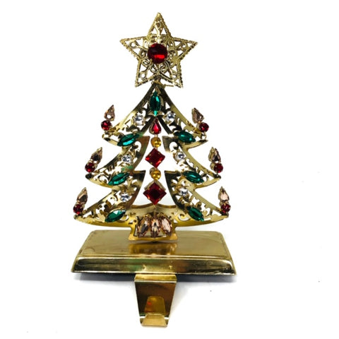Bejeweled Christmas Tree Stocking Holder