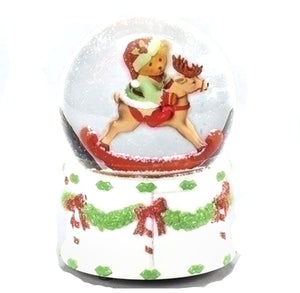 Musical Teddy Bear on Rocking Horse Snowglobe