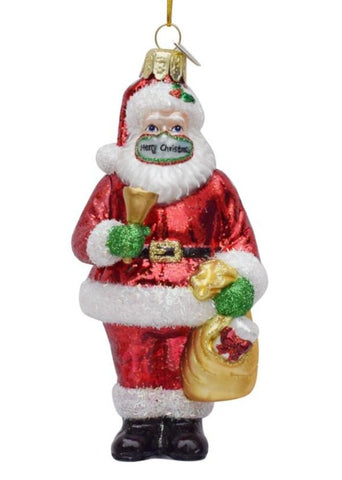 COVID Glass Santa with Mask
