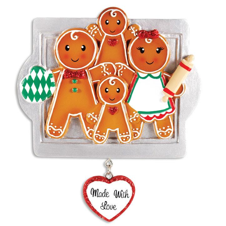 Gingerbread Family of 4 Ornament