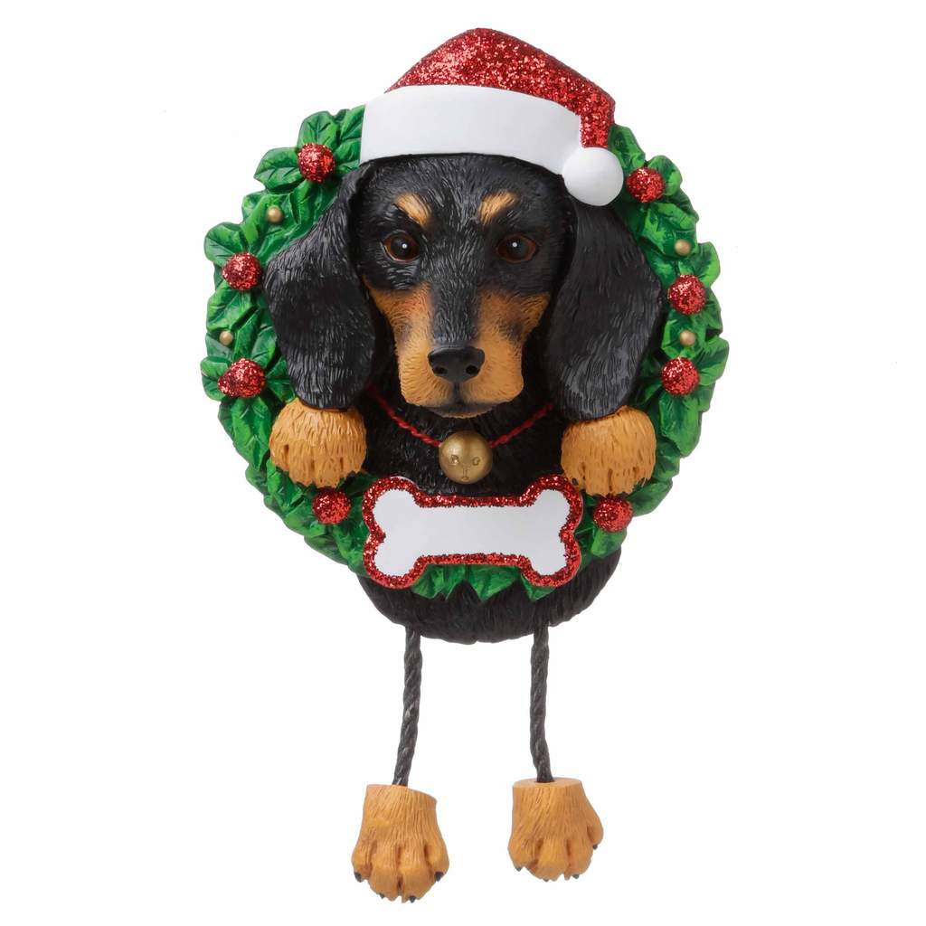 Dog In Wreath Dachshund: Black