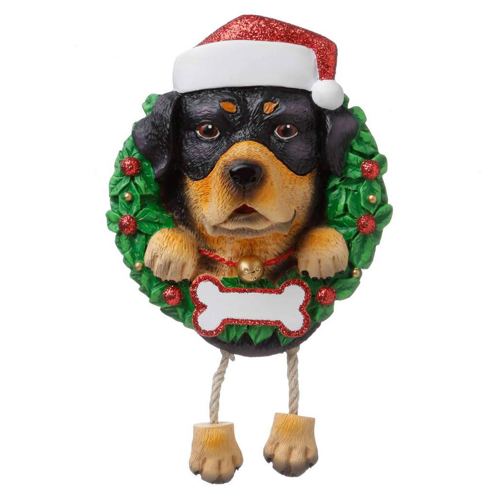 Dog In Wreath Rottweiler