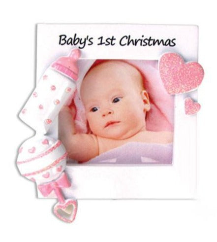 Baby's First Christmas Picture Frame - Pink