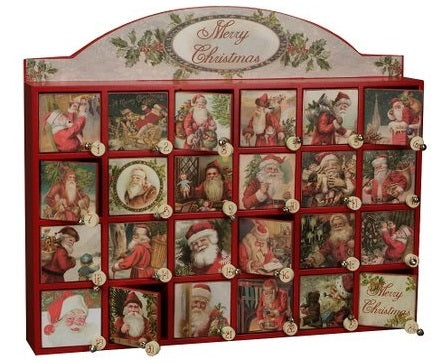 Wooden Advent Calendar with Victorian Postcard Santas