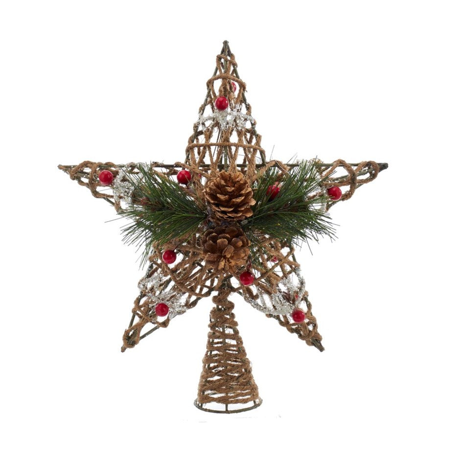5 Point Twine and Pinecone Star Tree Topper