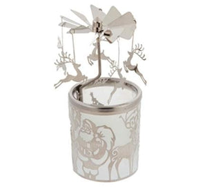Pillar Candle Holder: Santa and Reindeer