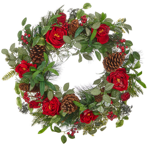 Red Rose Pinecone & Holly Wreath