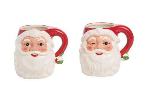 2 Assorted, Santa Head Mug