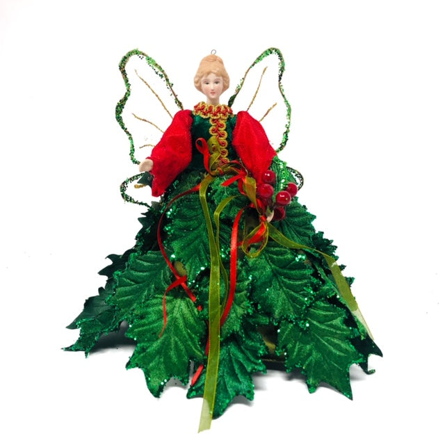 "10"" Angel Tree Top with Holly Leaf Dress"