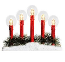 Red 5-Light Candelabra