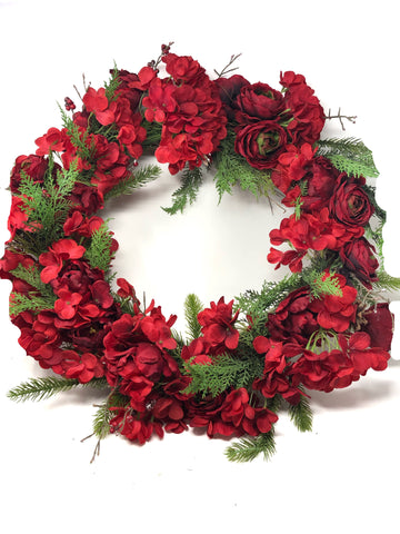 Red Hydrangea & Cedar Wreath