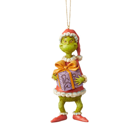 Grinch Holding Present Ornament