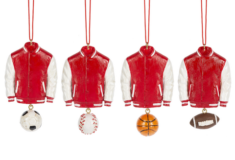 Assorted Varsity Jacket Ornaments, INDIVIDUALLY SOLD
