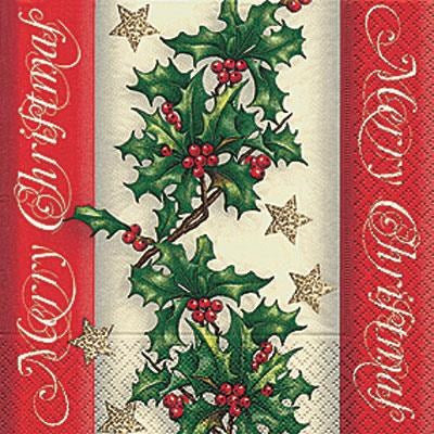 Holly Border Cocktail Napkin