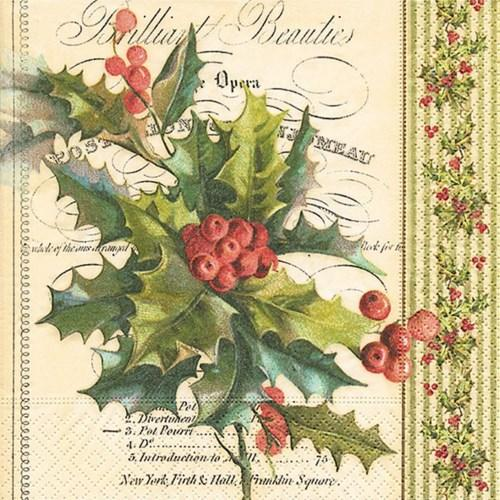 Christmas Holly Luncheon Napkin