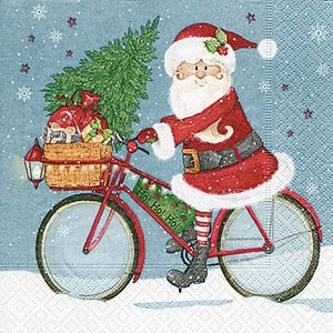 Santa On Bike Cocktail Napkin