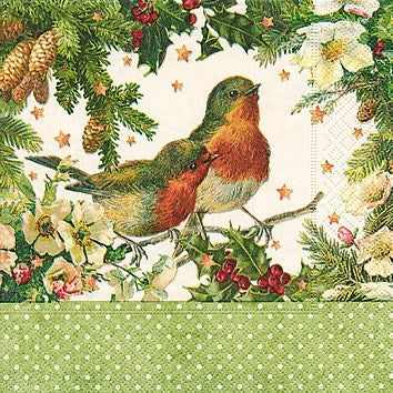 Robins In Green Cocktail Napkin