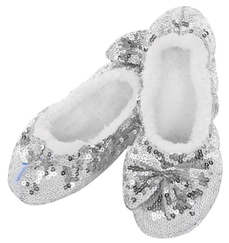 Classic Silver Sequin Slippers  LADIES SIZES