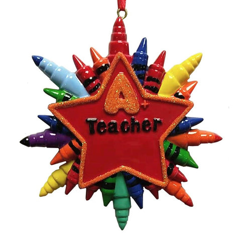 Teacher Star Crayon Ornament