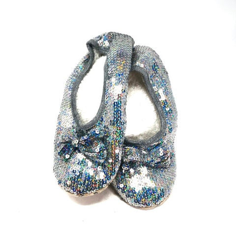 Classic Silver Iridescent Sequin Slippers  LADIES SIZES