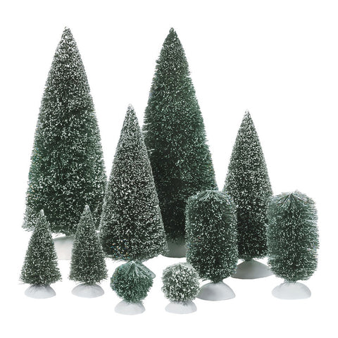 Village Accessory: Bag-O-Frosted Topiaries, Set of 10