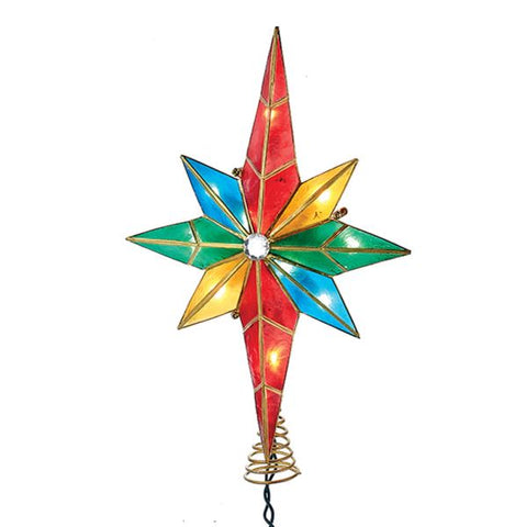 8 Point Capiz Bethlehem Star Tree Topper Lit