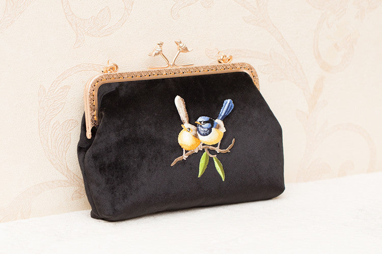 edc2defba0c2 ... Women s handmade retro style black velvet clutch bag with birds branch  embroidery ...