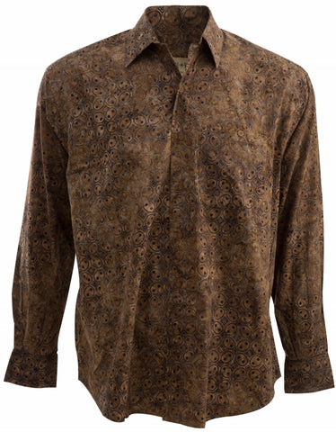 long sleeve brown shirt for the relaxed fitting untucked shirt looks great with jeans.