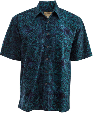 sapphire color batik cotton geometric forest cheap hawaiian shirts made by johari west