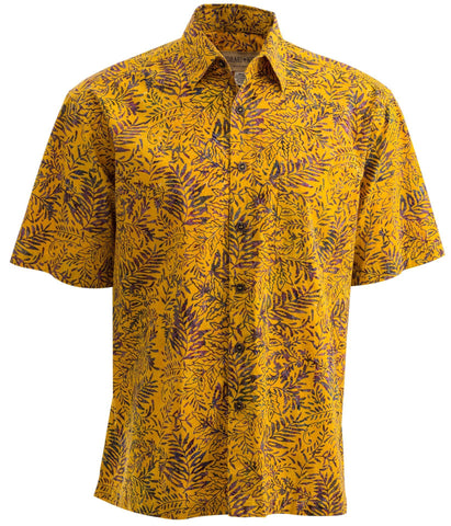 yellow Tropical Tobago brown leaves cool fishing shirt for men casual button down shirts