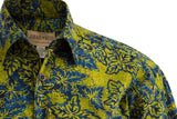 St. Lucia Forest yellow pattern and blue flowers makes this hawaiian shirt a must own and excellent piece of clothing