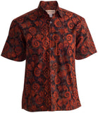 Terracotta wave has an interesting red swirl pattern and black accents on this cool, casual button down shirt
