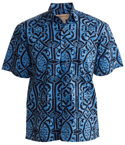 Celtic Dawn blue is a neat design that almost looks samoan in descent black accents make this a really cool shirt