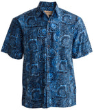 Blue Indo Bay Men's Batik Hawaiian Shirts Made from Authentic Cotton Indonesia