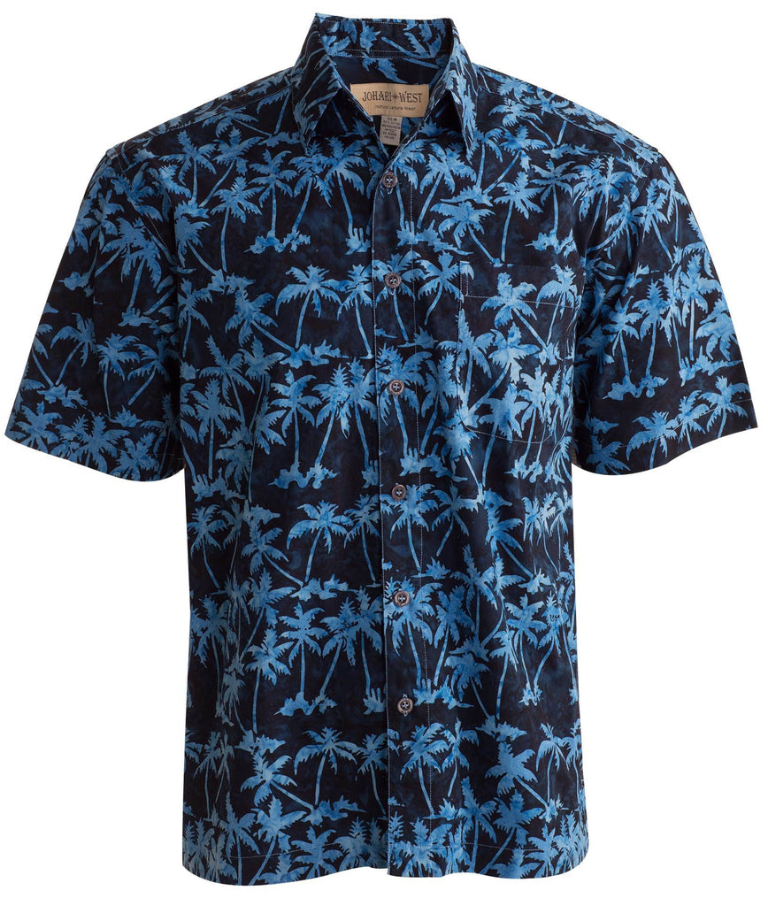 blue palm trees cool nights button down collared shirt