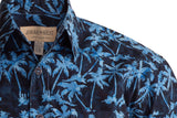 Blue/Navy Casual button down batik cotton shirt with Johari West buttons