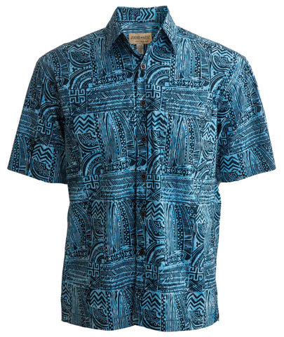 Brilliant shirt called botany bay ocean blue creative pattern with black lines and patterns