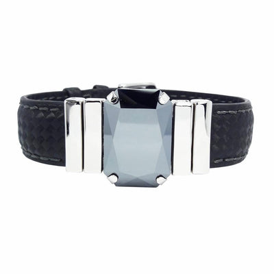 "Midnight Jet Men's Bracelet & ""Chess"" Black Natural Leather Strap"